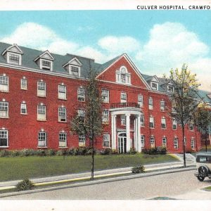 Crawfordsville Indiana bird's eye view Culver Hospital antique pc (Y9807)