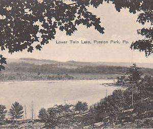 D9956 PA, Preston Park Twin Lake Postcard
