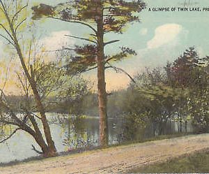 D9955 PA, Preston Park Twin Lake Postcard