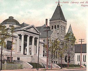 F6242 IN, Logansport High School/Library Postcard