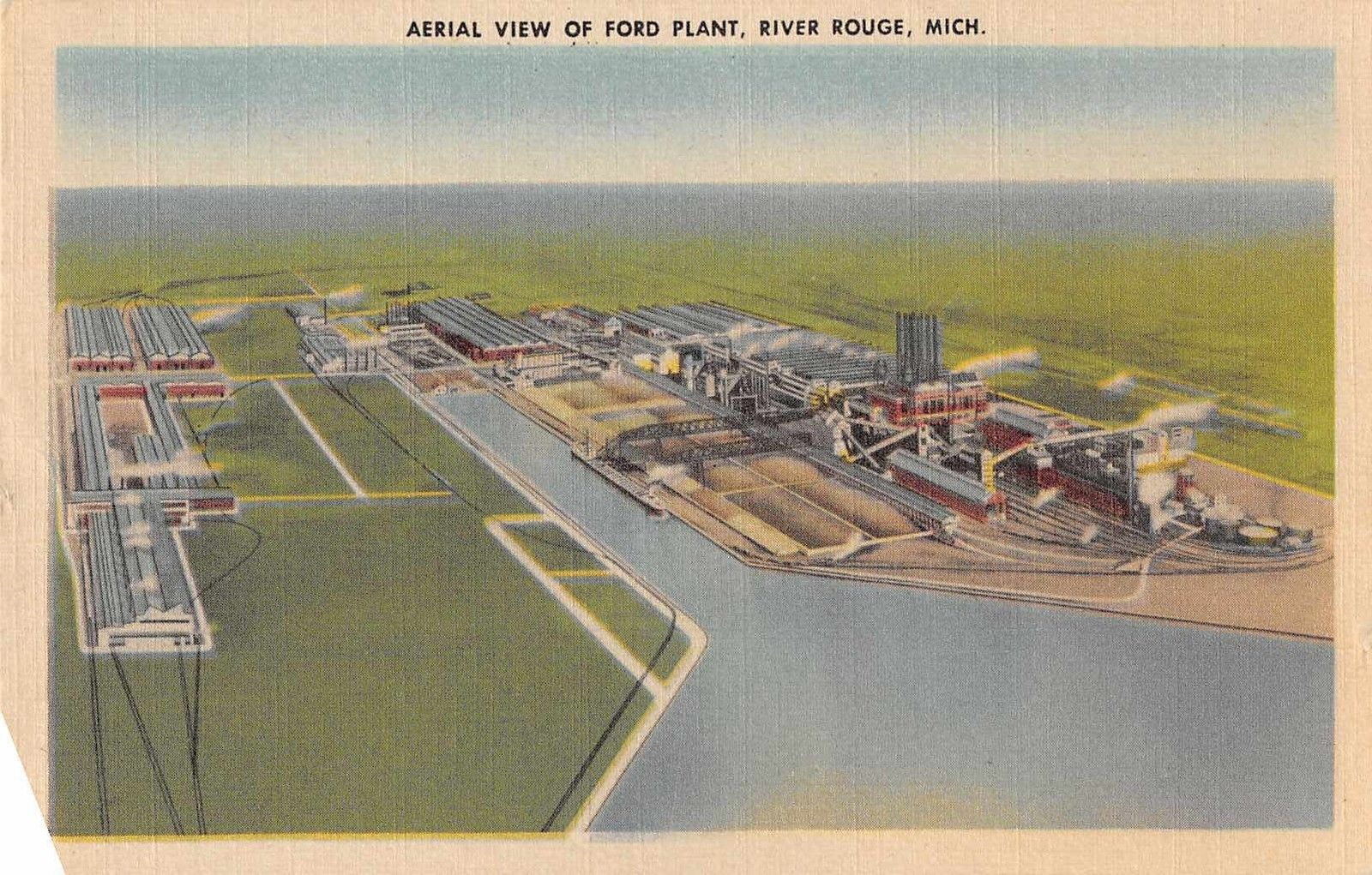 Aerial View Of Ford Plant River Rouge Michigan Antique