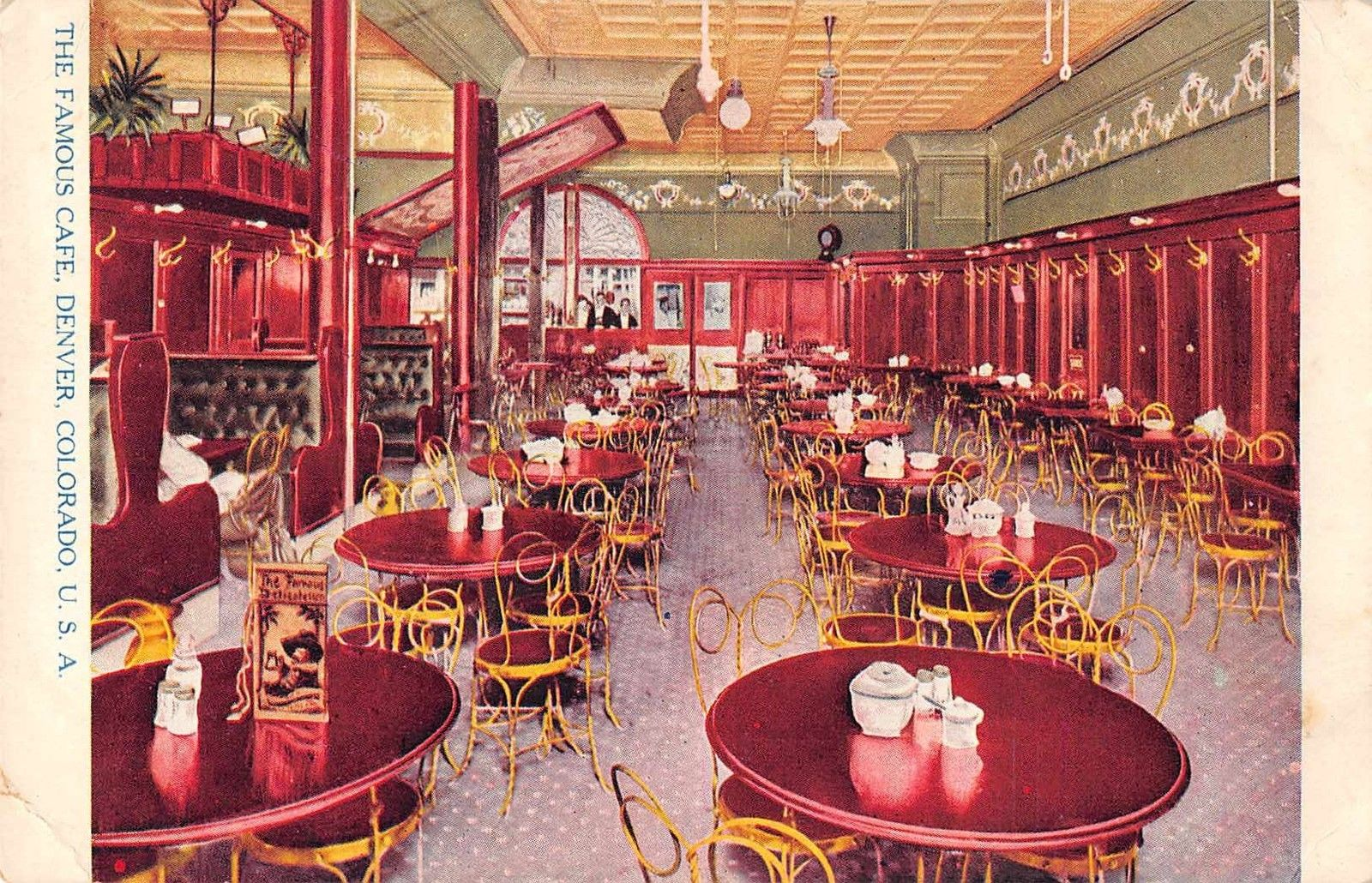 Denver Colorado Interior View The Famous Cafe Dining Room Antique Pc  (Y9846)   Mary L. Martin Ltd. Postcards