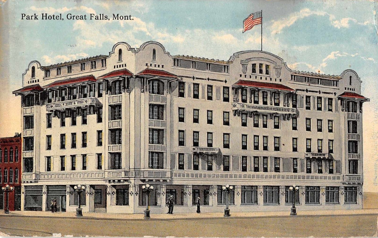 Great Falls Montana Park Hotel Antique Postcard J33476 Mary L Martin Ltd Postcards