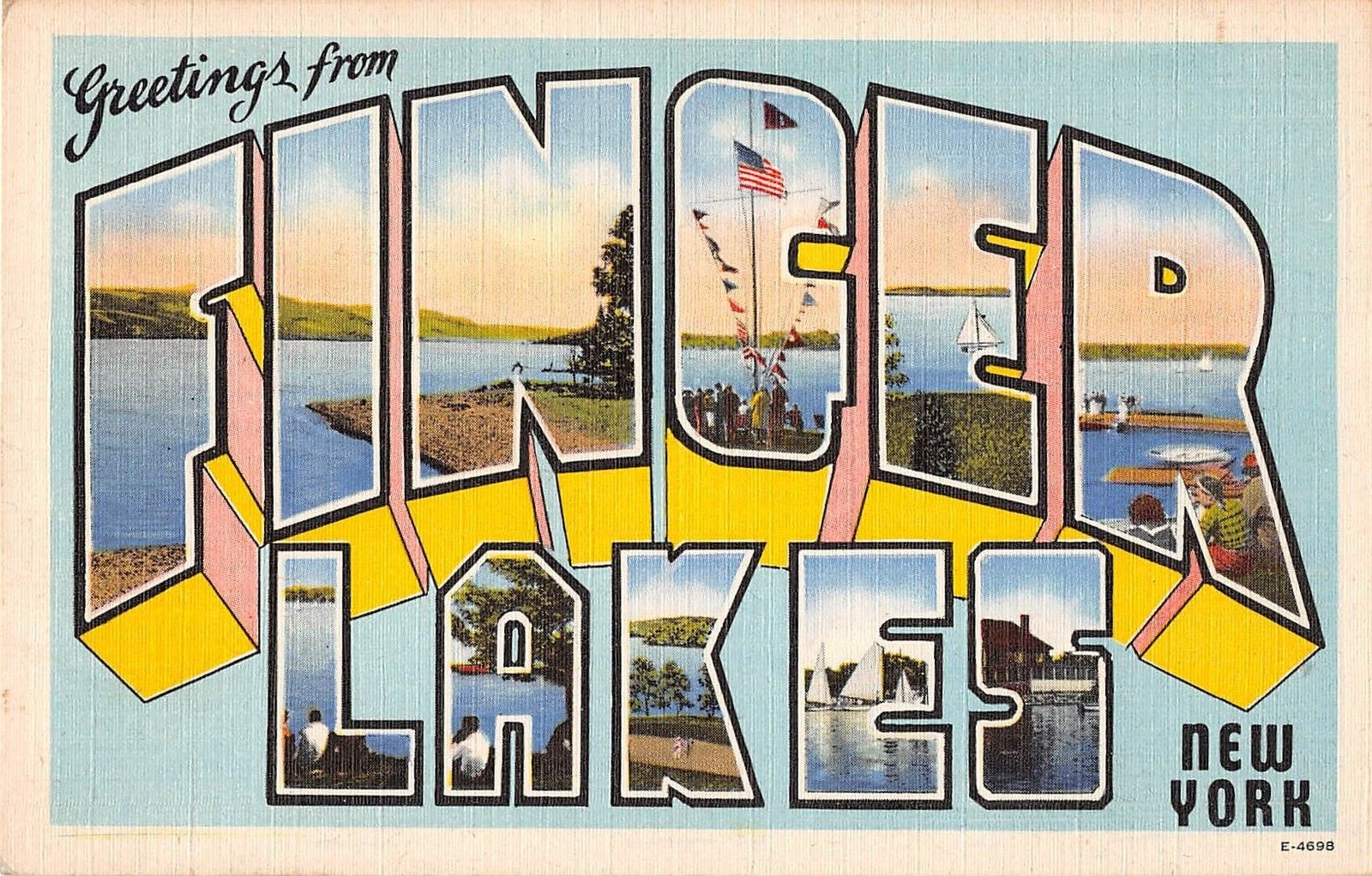 Finger Lakes New York Greetings Large Letter Linen Antique Postcard