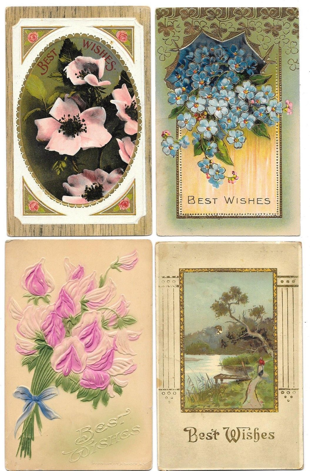 Group Of 21 Floral Best Wishes Greetings Antique Postcards N4965