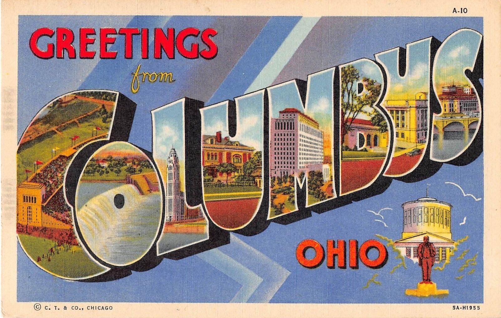 Columbus Ohio Greetings Large Letter Linen Antique Postcard J15070