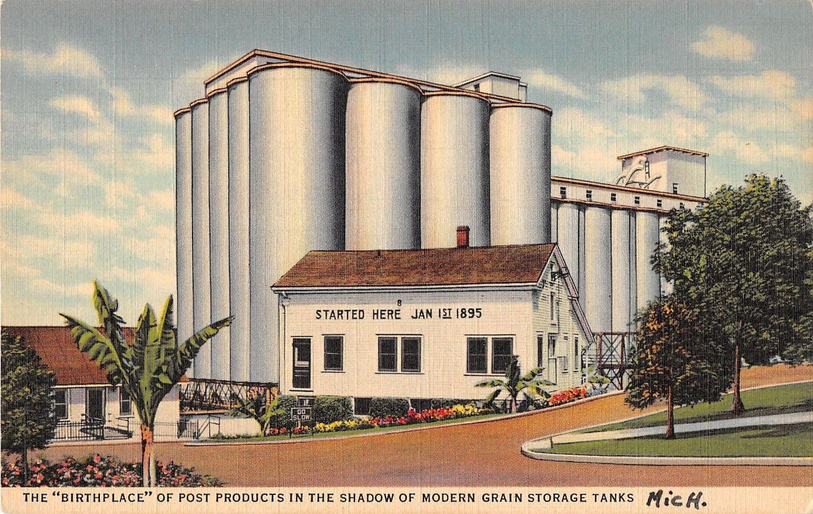 Battle Creek Michigan Post Products Grain Storage Tank Antique Postcard  (J17236)   Mary L. Martin Ltd. Postcards