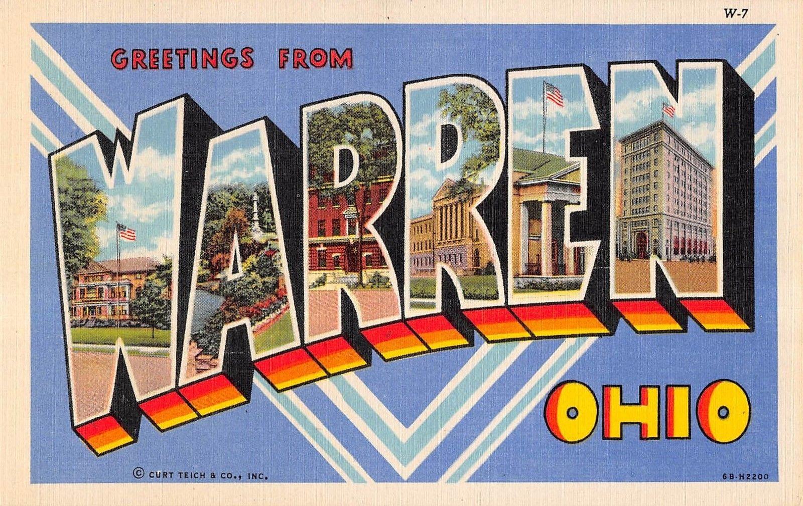 Warren Ohio Large Letter Linen Greeting Antique Postcard V22028