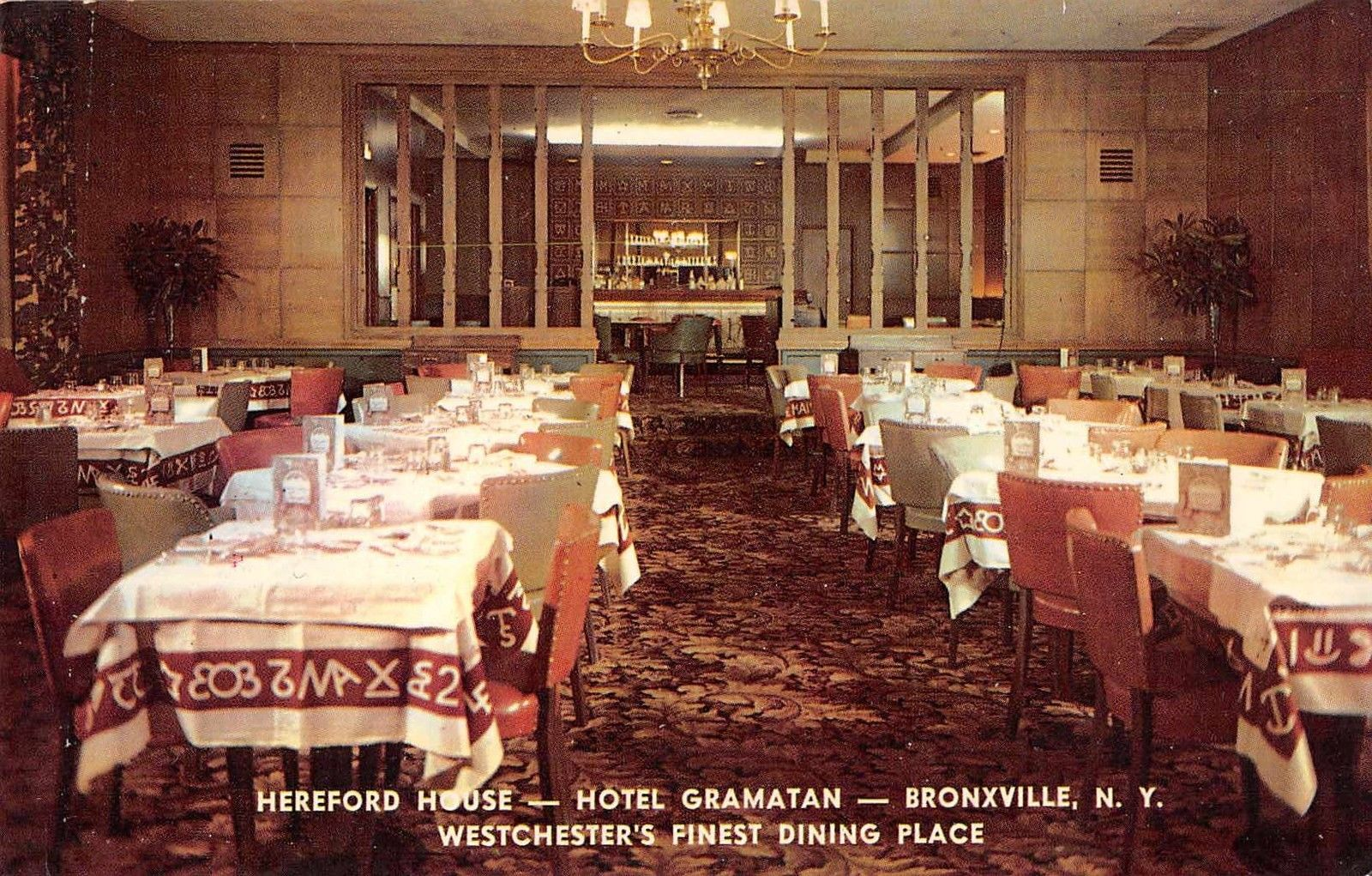 Bronxville New York Hotel Gramatan Hereford House Dining Vintage PC  (J33887)   Mary L. Martin Ltd. Postcards