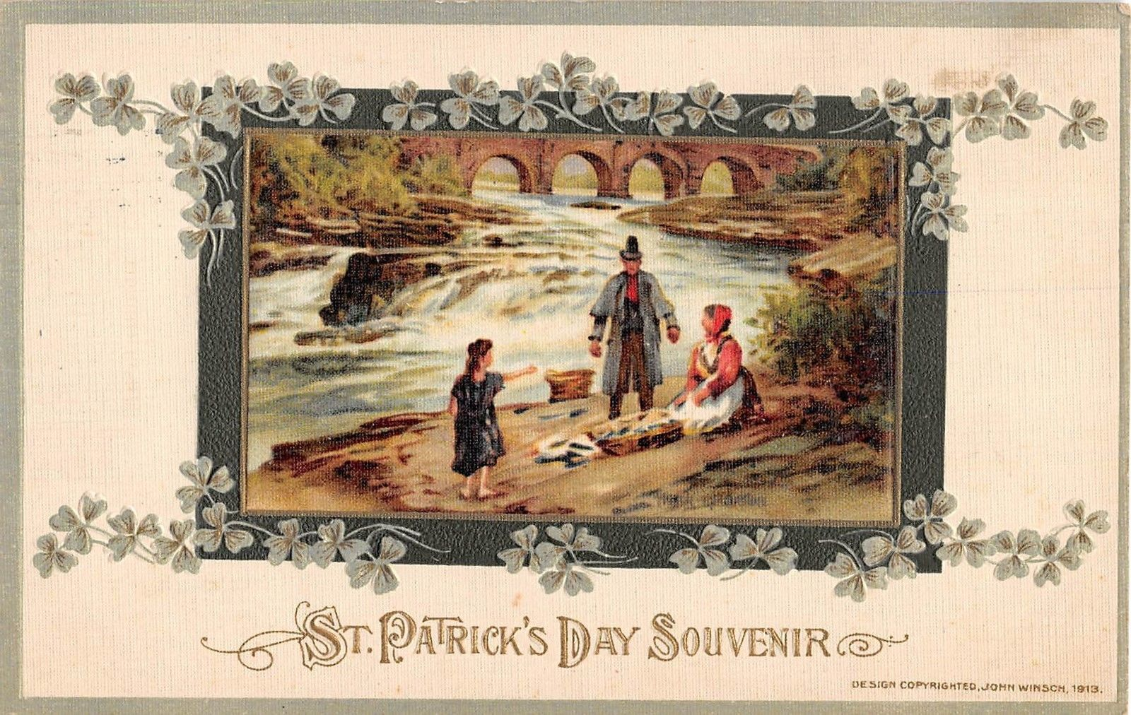 St Patricks Day Greetings Family Fishing Antique Postcard J6453