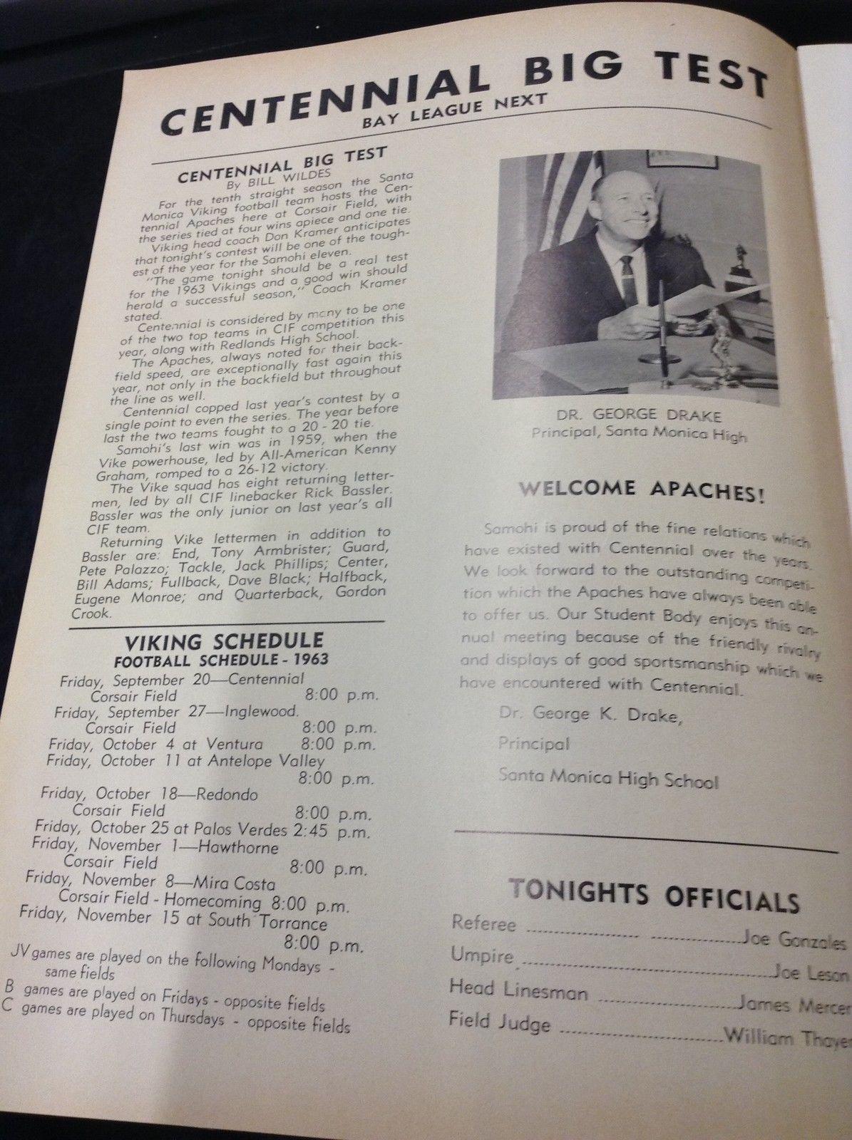 1963 Santa Monica vs Centennial Apaches Vintage Football Program ...