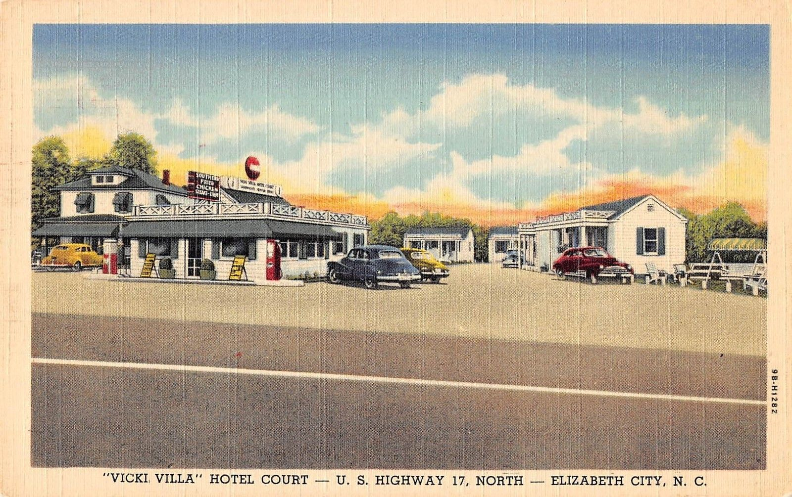 Elizabeth City North Carolina Vicki Villa Hotel Court Linen Antique Pc J28988 Mary L Martin Ltd Postcards