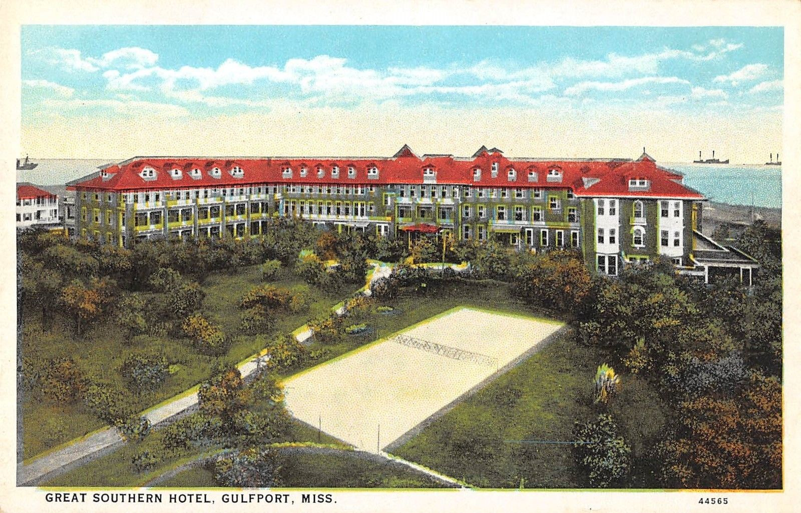 Gulfport Mississippi Aerial View Great Southern Hotel Antique Pc