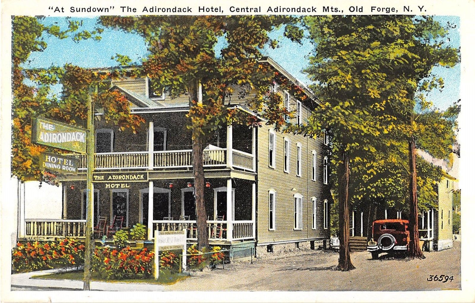 Old Forge New York The Adirondack Hotel Exterior View Antique