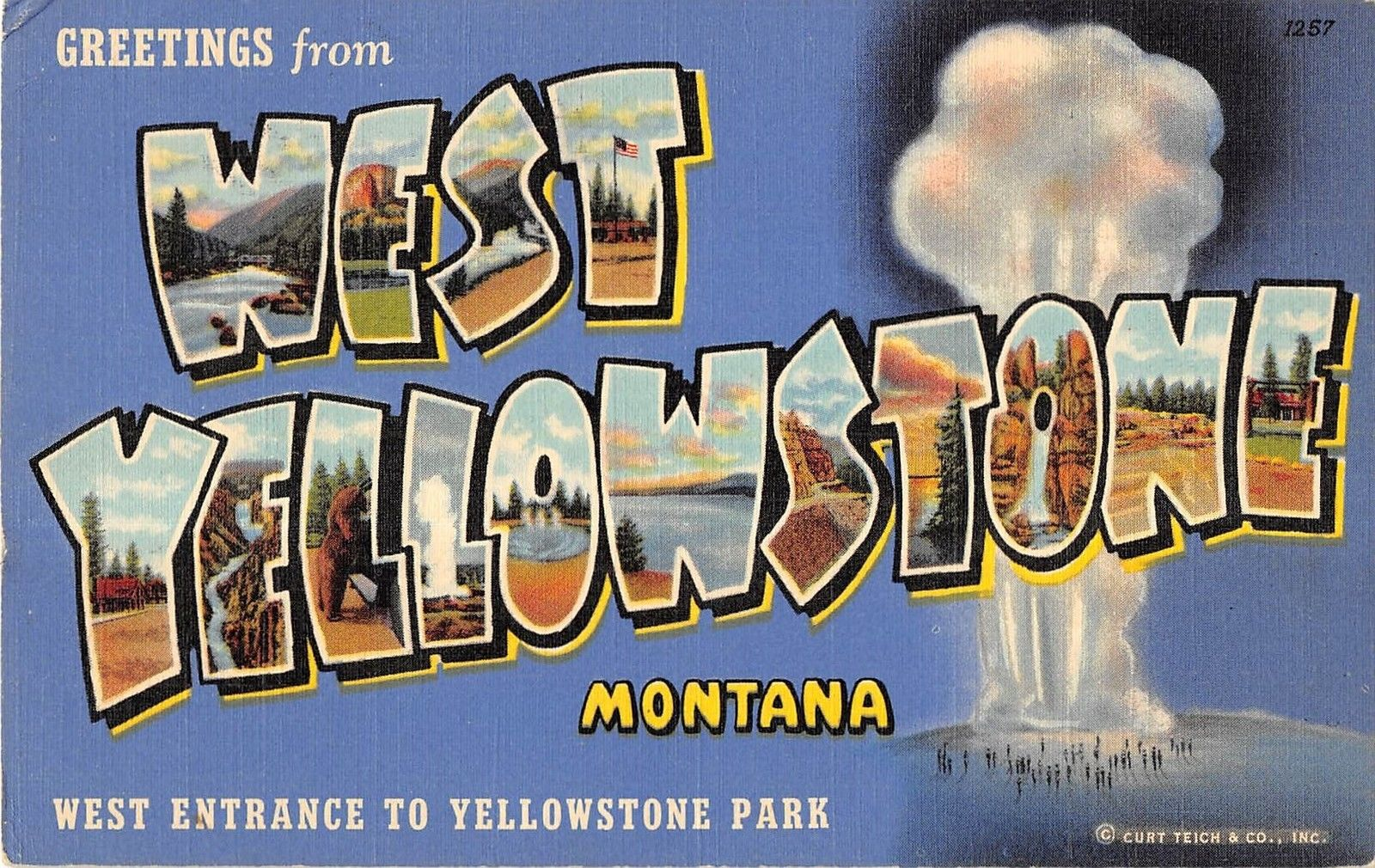 West Yellowstone Montana Large Letter Linen Greeting Antique