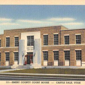 Castle Dale Utah Emery Court House Street View Antique Postcard K32540