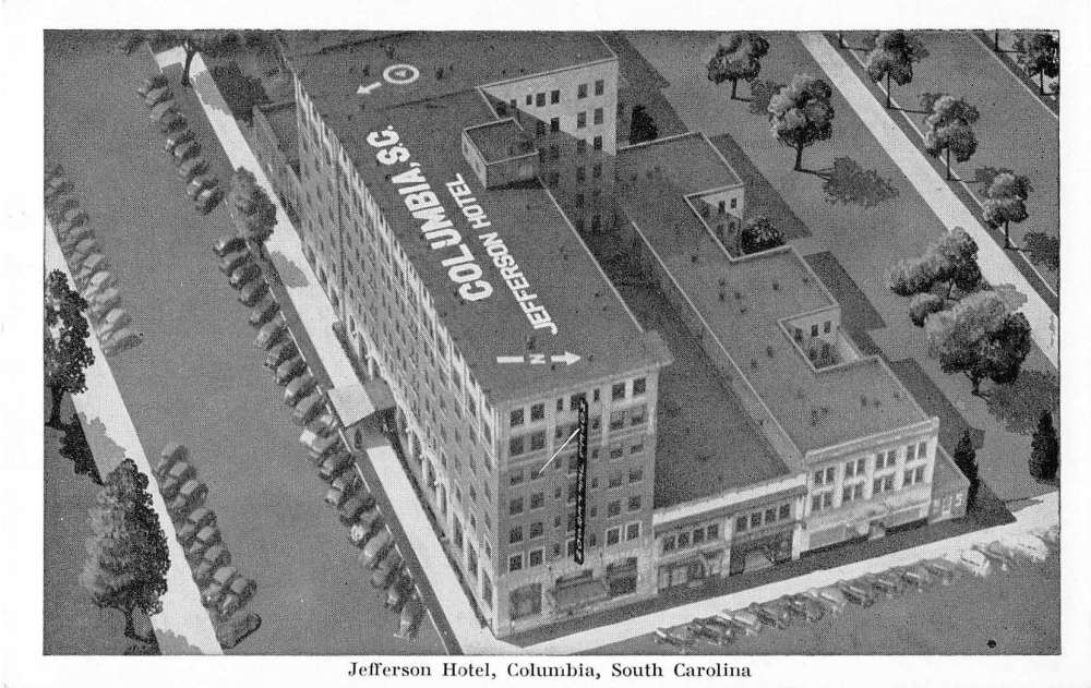 Columbia south carolina jefferson hotel antique postcard for Craft stores columbia sc