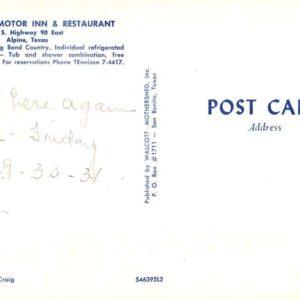 Alpine Texas Ponderosa Inn Multiview Vintage Postcard K35790