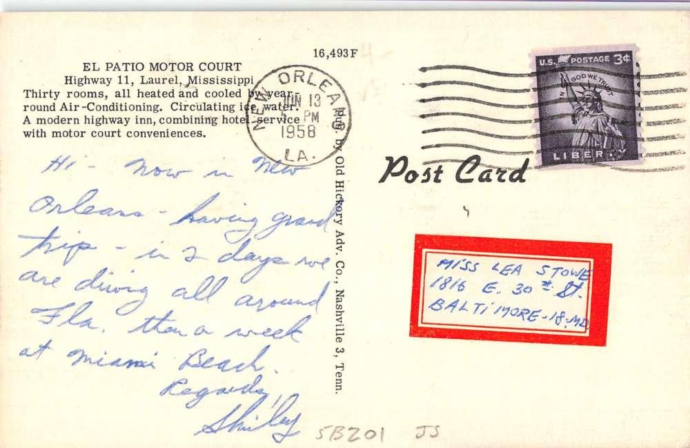 Laurel Mississippi El Patio Motor Court Street View Antique Postcard K40276