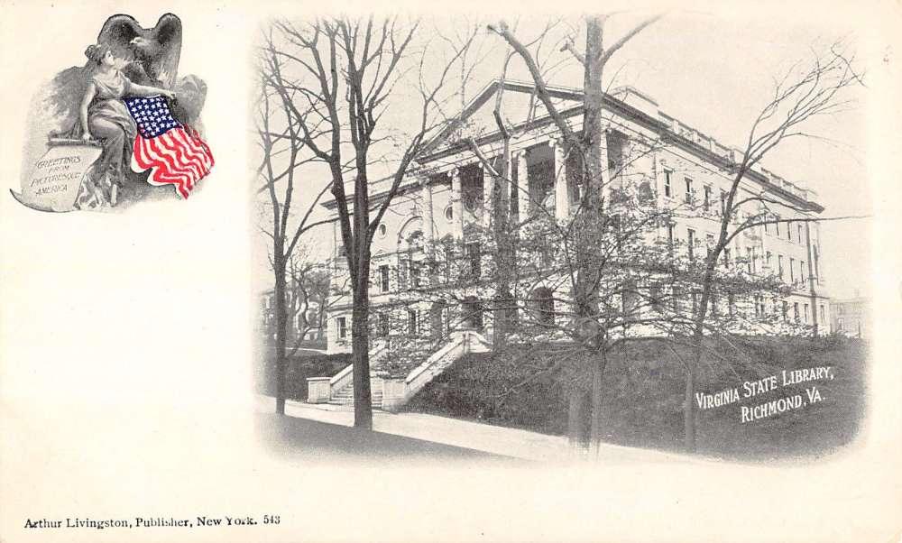 Richmond Virginia State Library Pioneer Antique Postcard