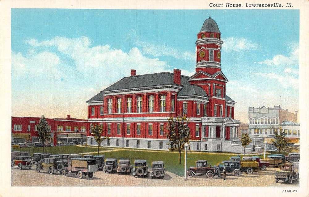 Lawrenceville Illinois Court House Street View Antique
