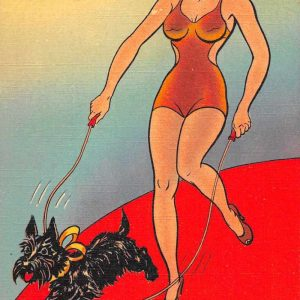 Bathing Beauty Pin Up Girl and Scotty Dog Scottish Terrier Postcard J57948