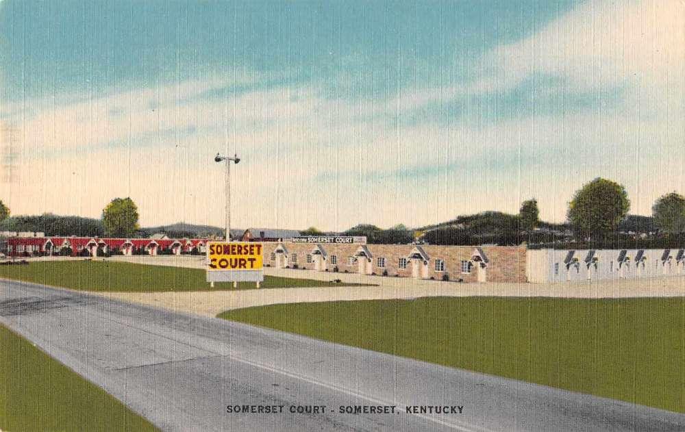 Somerset kentucky somerset court linen antique postcard for Somerset motors somerset ky