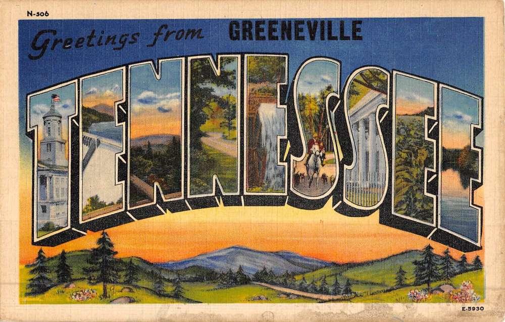 greeneville tennessee large letter linen antique postcard