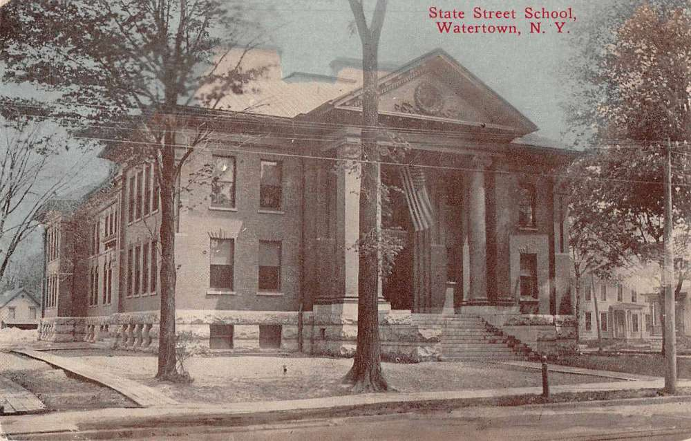 watertown new york state street school exterior view antique postcard j61251 mary l martin. Black Bedroom Furniture Sets. Home Design Ideas