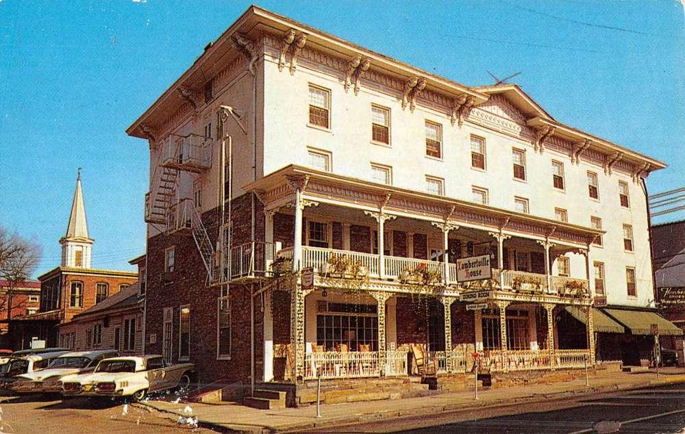 Lambertville New Jersey House Street View Vintage Postcard