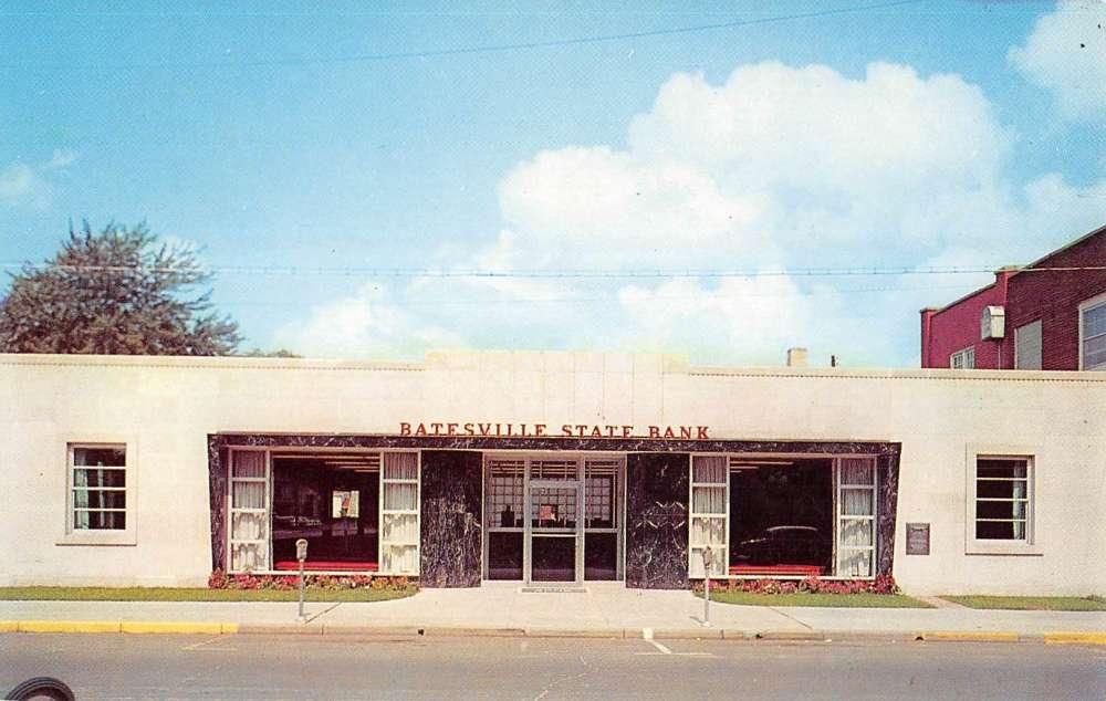 Batesville Indiana State Bank Street View Vintage Postcard K54069