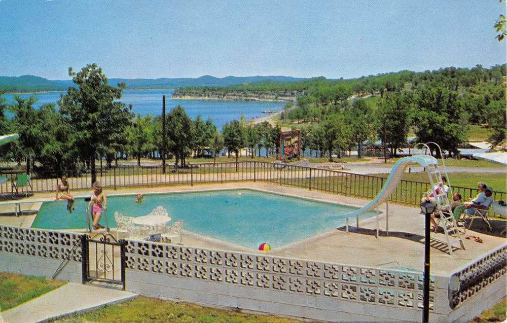 Captivating Lampe Missouri Little Indian Resort Pool View Vintage Postcard K55550    Mary L. Martin Ltd. Postcards