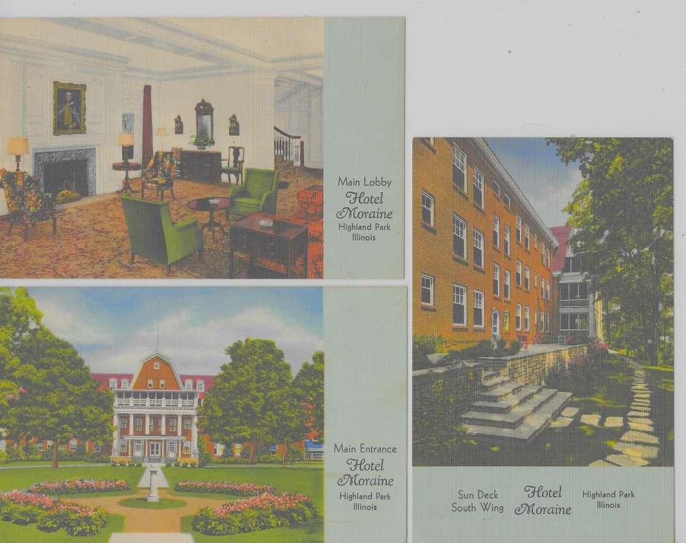 3 Highland Park Illinois Views Of Hotel Moraine Linen Antique Pc Z31146 Mary L Martin Ltd Postcards