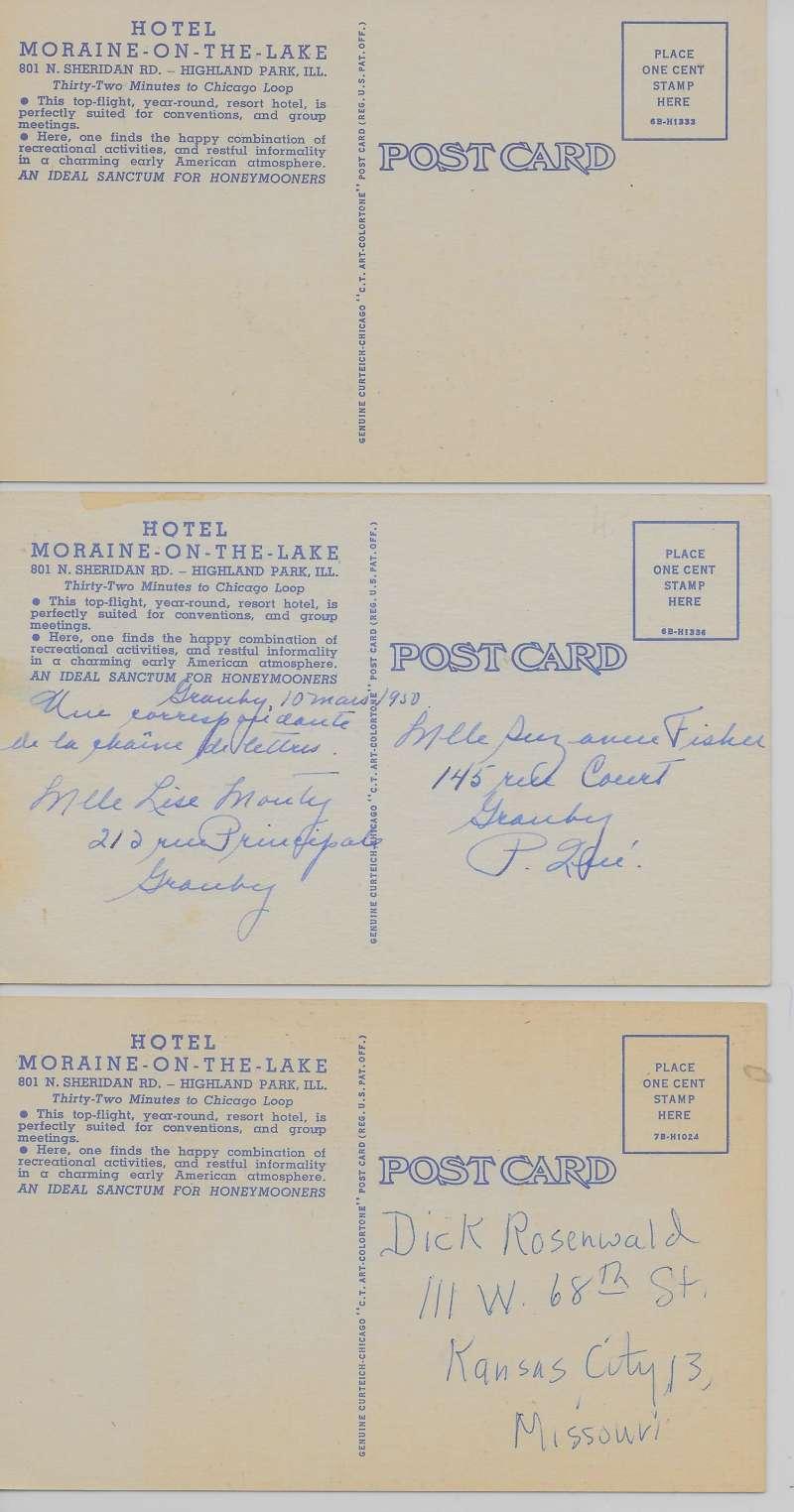 3 Highland Park Illinois Views Of Hotel Moraine Linen Antique Pc Z31146