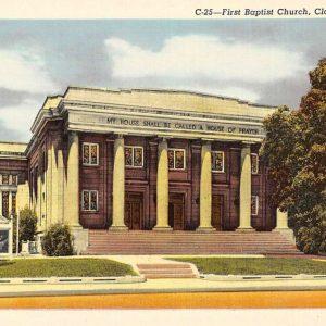 Clarksville Tennessee First Baptist Church Street View Antique Postcard K57303