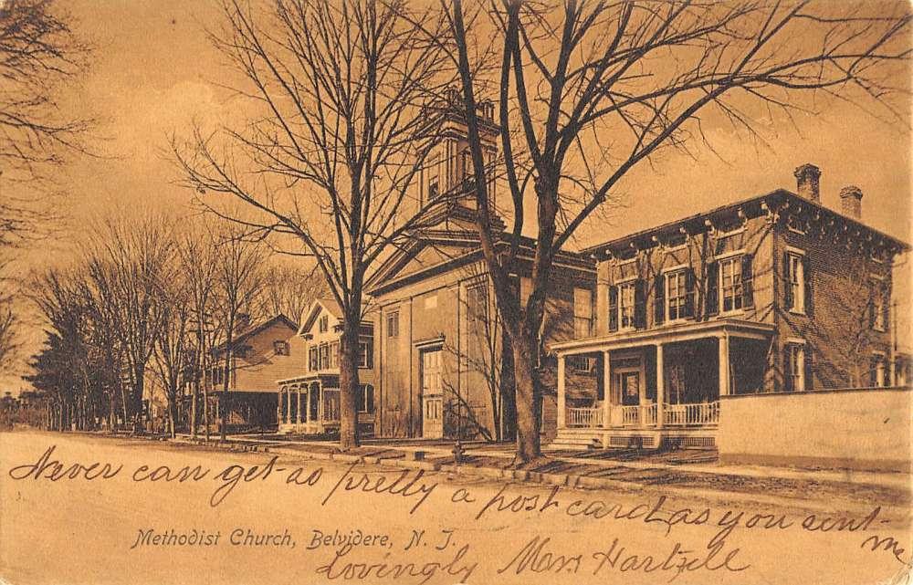 Belvidere New Jersey Methodist Church Street View Antique