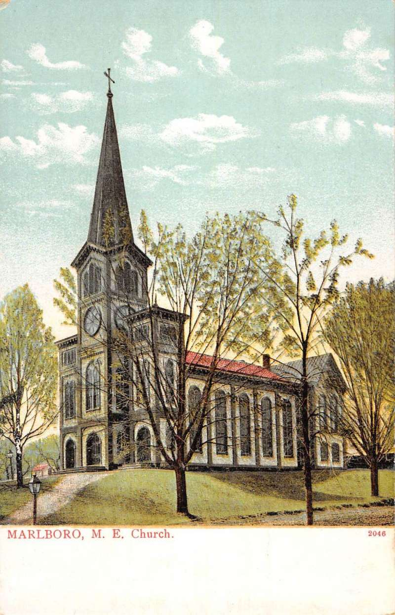 Marlboro New Jersey Me Church Street View Antique Postcard