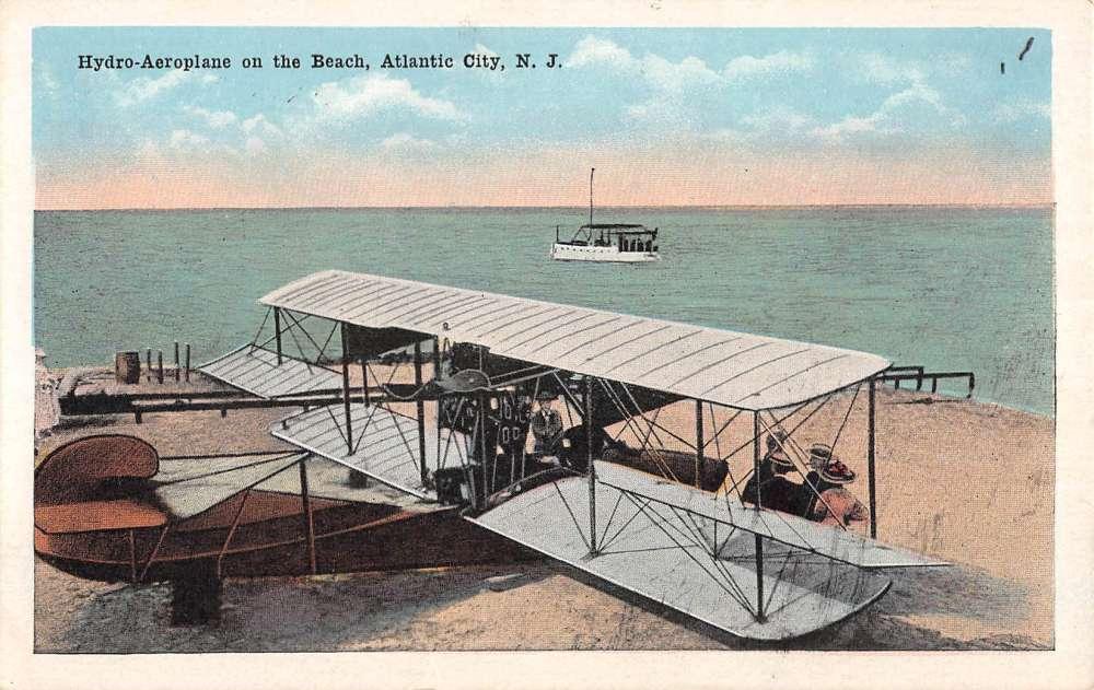Atlantic City New Jersey Hydro Aeroplane On Beach Antique
