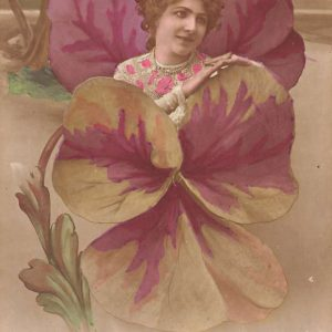Pansy Flower Fantasy Woman Tinted Real Photo Antique Postcard K61318