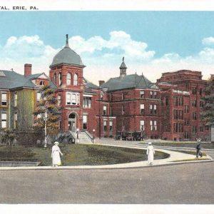 Erie Pennsylvania Hamot Hospital Street View Antique Postcard K61325