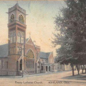 Ashland Ohio Trinity Lutheran Church Street View Antique Postcard K66590