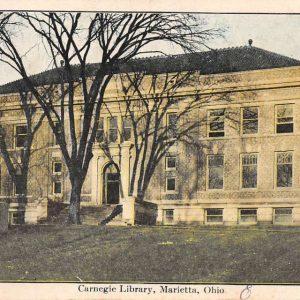 Marietta Ohio Carnegie Library Street View Antique Postcard K66591