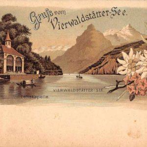 Lake Lucerne Switzerland Vierwaldstattersee Gruss aus Antique Postcard J68252