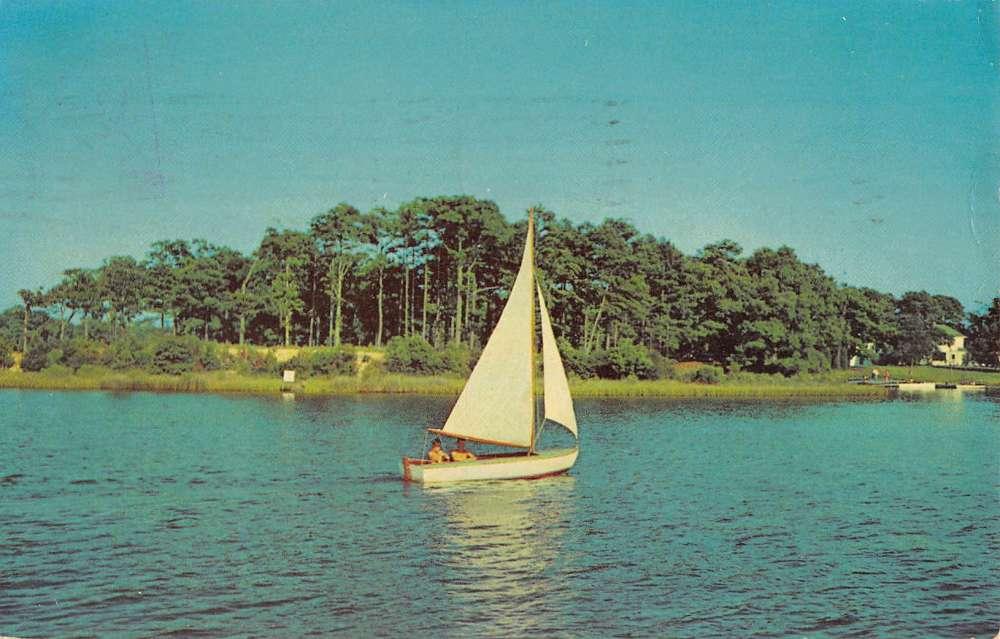 Oak Ridge New Jersey Waterfront Sail Boat Vintage Postcard