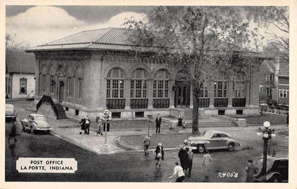 La porte indiana post office street view antique postcard for La porte court house