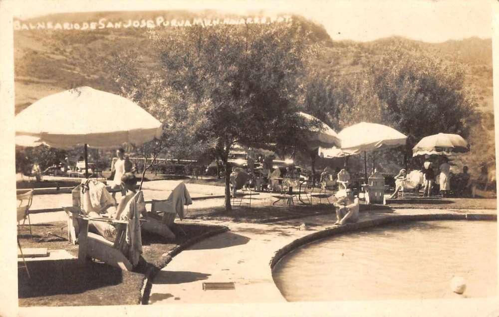 Michoacan Mexico Hotel San Jose Purua Swimming Pool Real Photo Postcard J71699 Mary L Martin