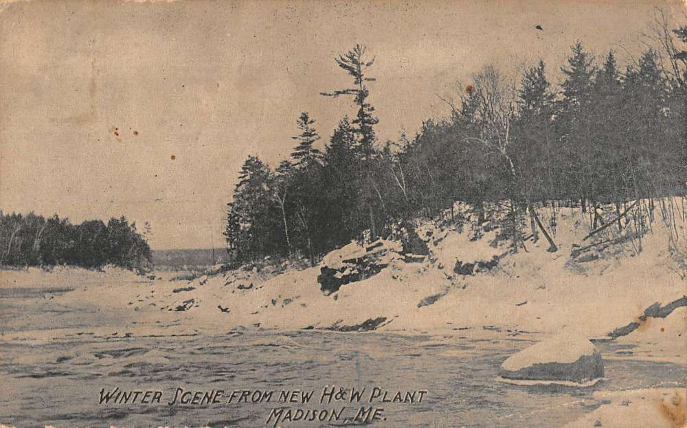 f4a1c4807516cf Madison Maine New HW Plant Winter Scene Antique Postcard K78116 ...