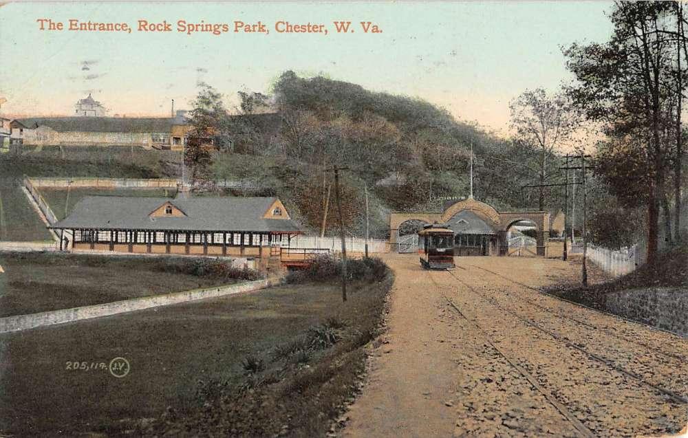 chester west virginia rock springs park entrance antique postcard k79946 mary l martin ltd. Black Bedroom Furniture Sets. Home Design Ideas