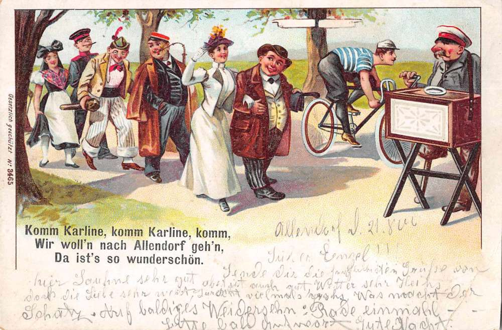 Allendorf Germany Greetings Parade Music Organ Grinder Antique Postcard  J72906