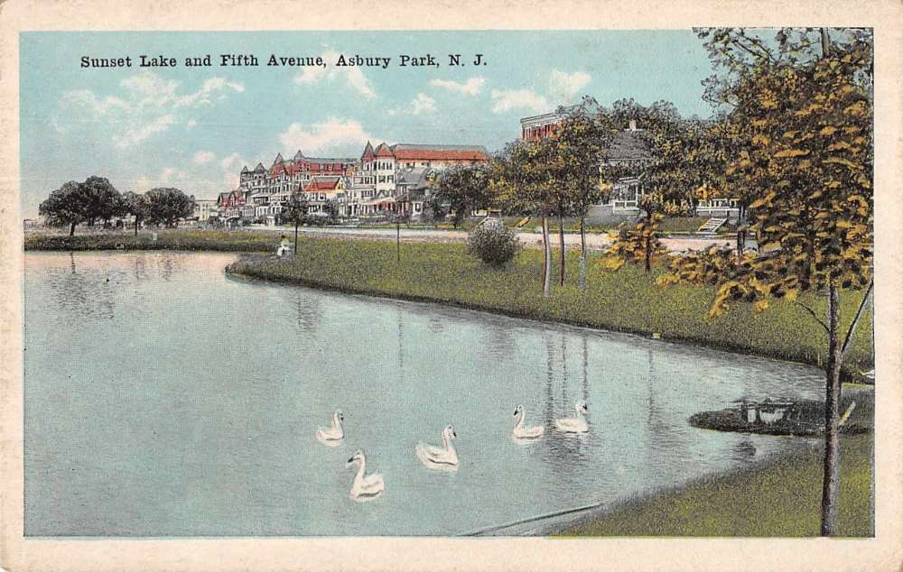 Asbury Park New Jersey Scenic View Sunset Lake Swans